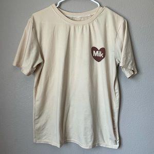 KPOP Super Soft Milk Graphic Tee Shirt Sm Yellow